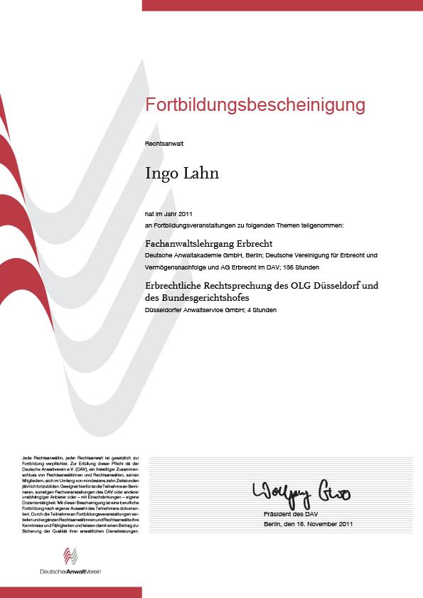 Erbrecht Lahn, Fortbildung 2011