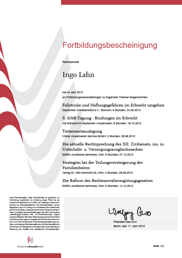 Erbrecht Lahn, Fortbildung 2012-1