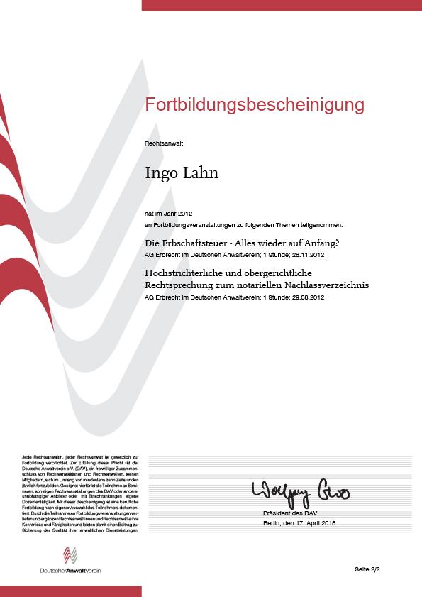 Erbrecht Lahn, Fortbildung 2012-2