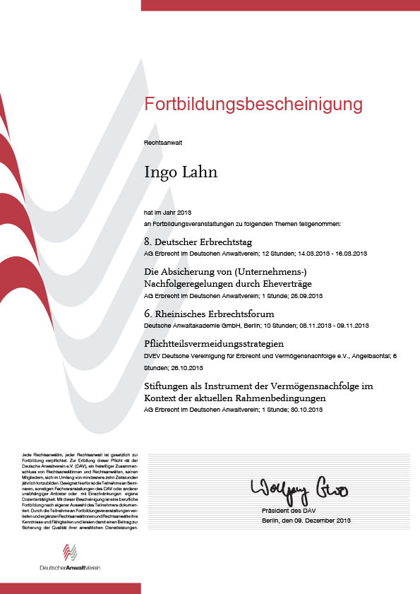 Erbrecht Lahn, Fortbildung 2013