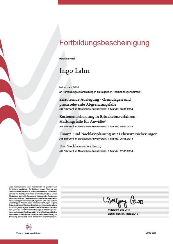 Erbrecht Lahn, Fortbildung 2014-2
