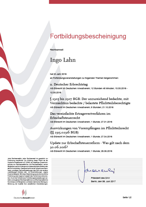 Erbrecht Lahn, Fortbildung 2016-1