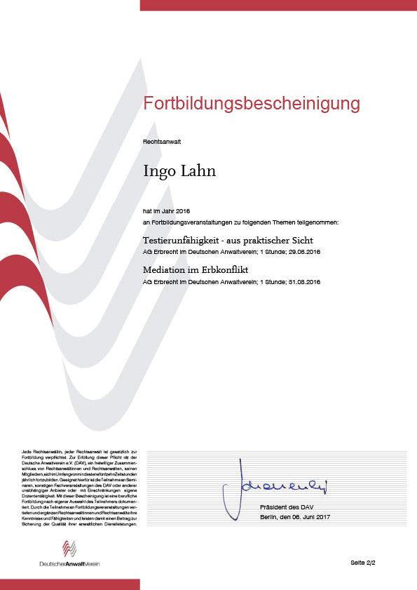 Erbrecht Lahn, Fortbildung 2016-2