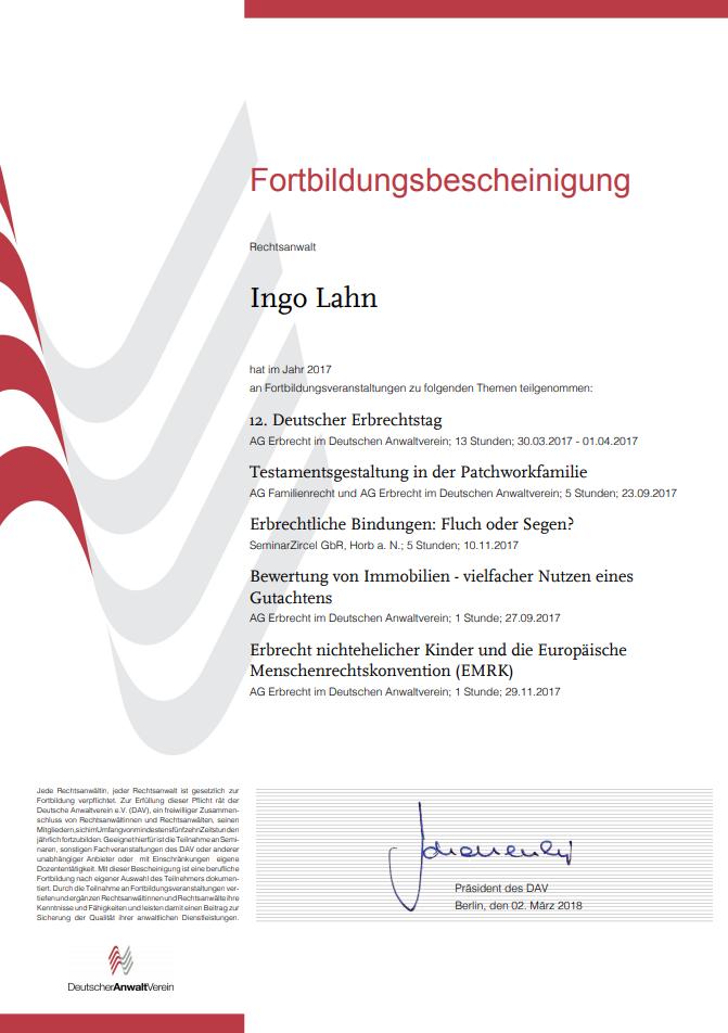 Erbrecht Lahn, Fortbildung 2017-1