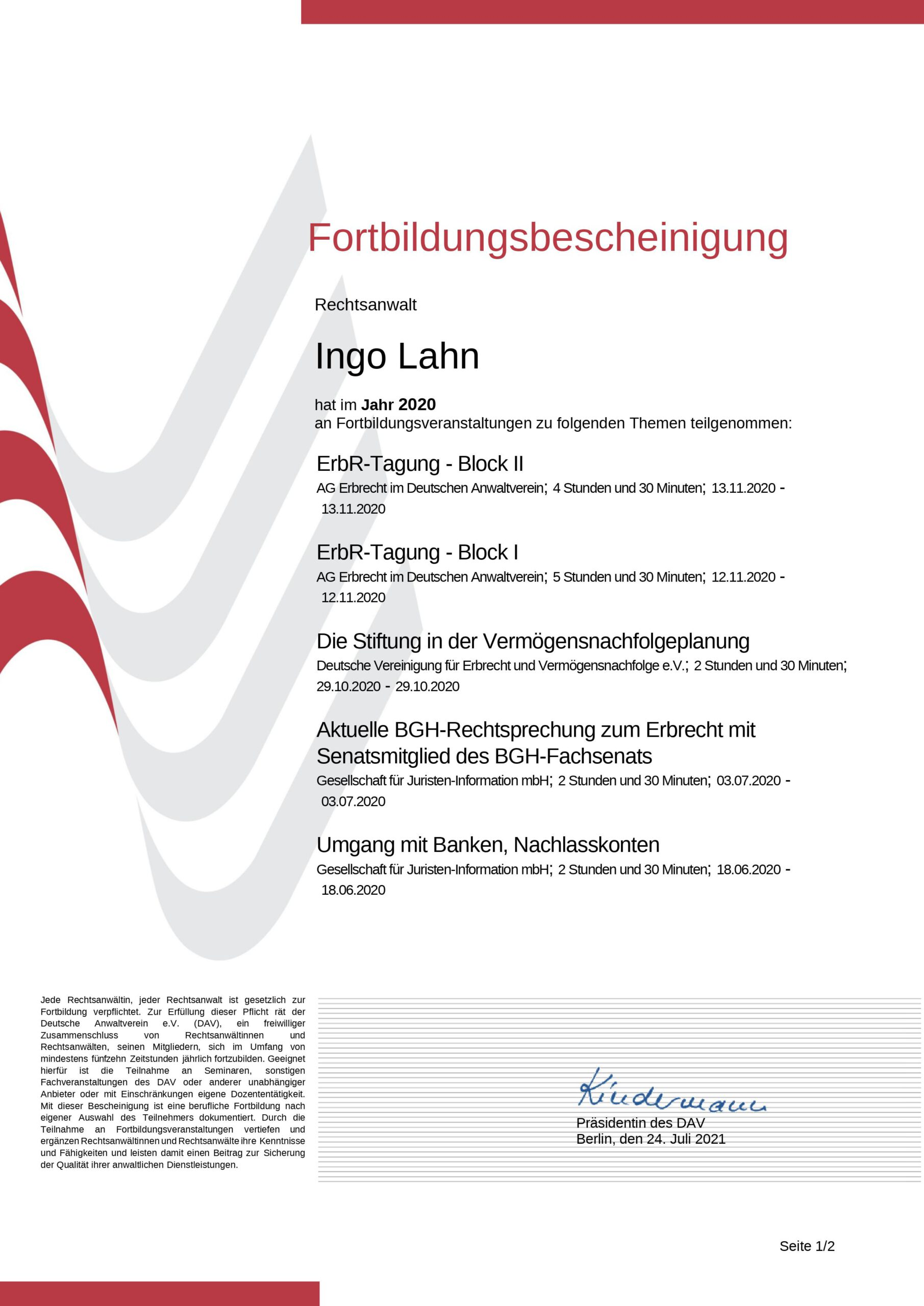 Fortbildungsbescheinigung 2020 von Ingo Lahn, Fachanwalt für Erbrecht